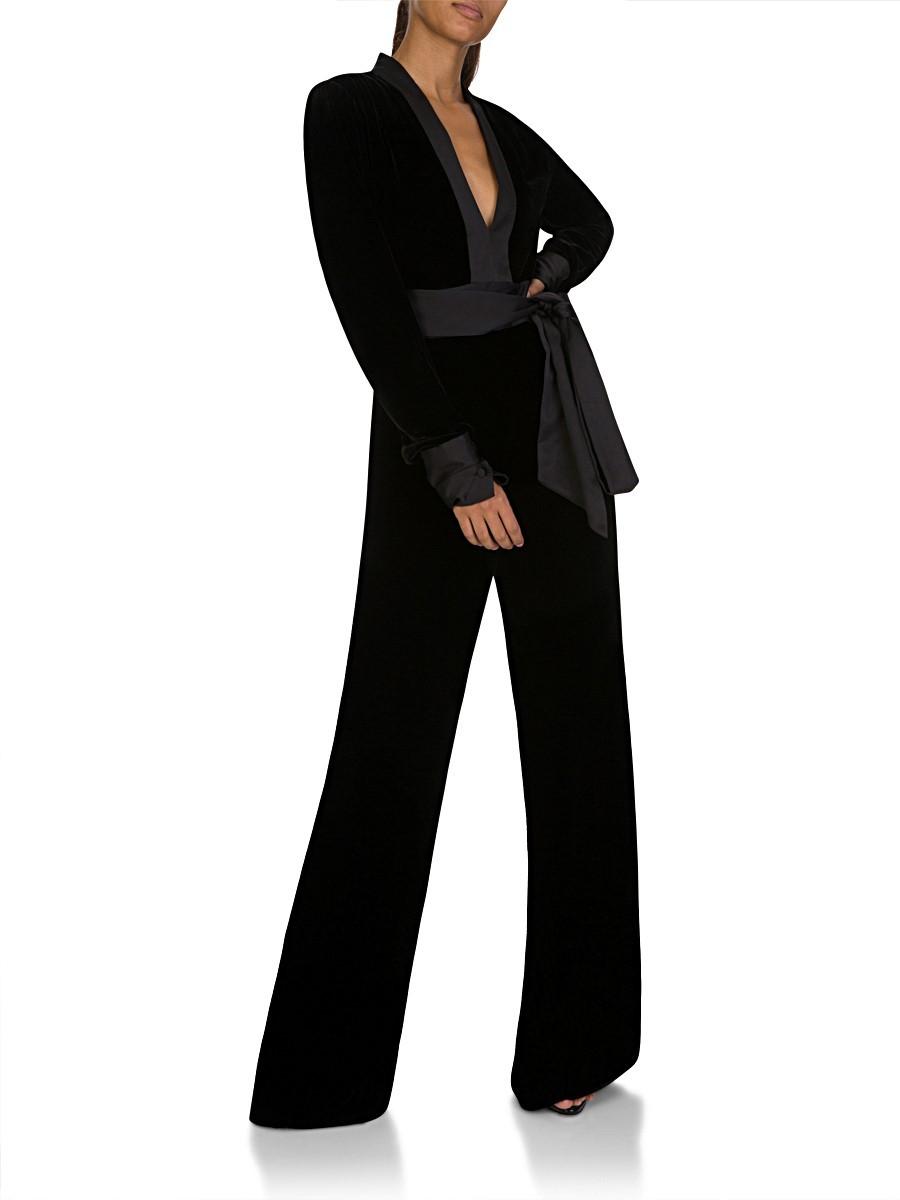 Diane Von Furstenberg Velvet Sash Jumpsuit