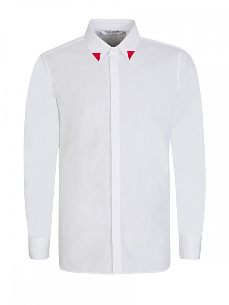 Neil Barrett White Red-Tipped Collar Shirt