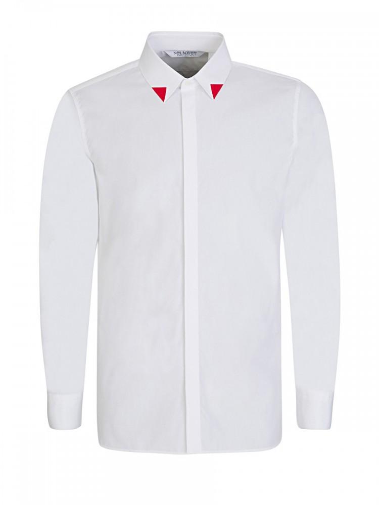 Neil Barrett White Red-Tipped Collar Shirt