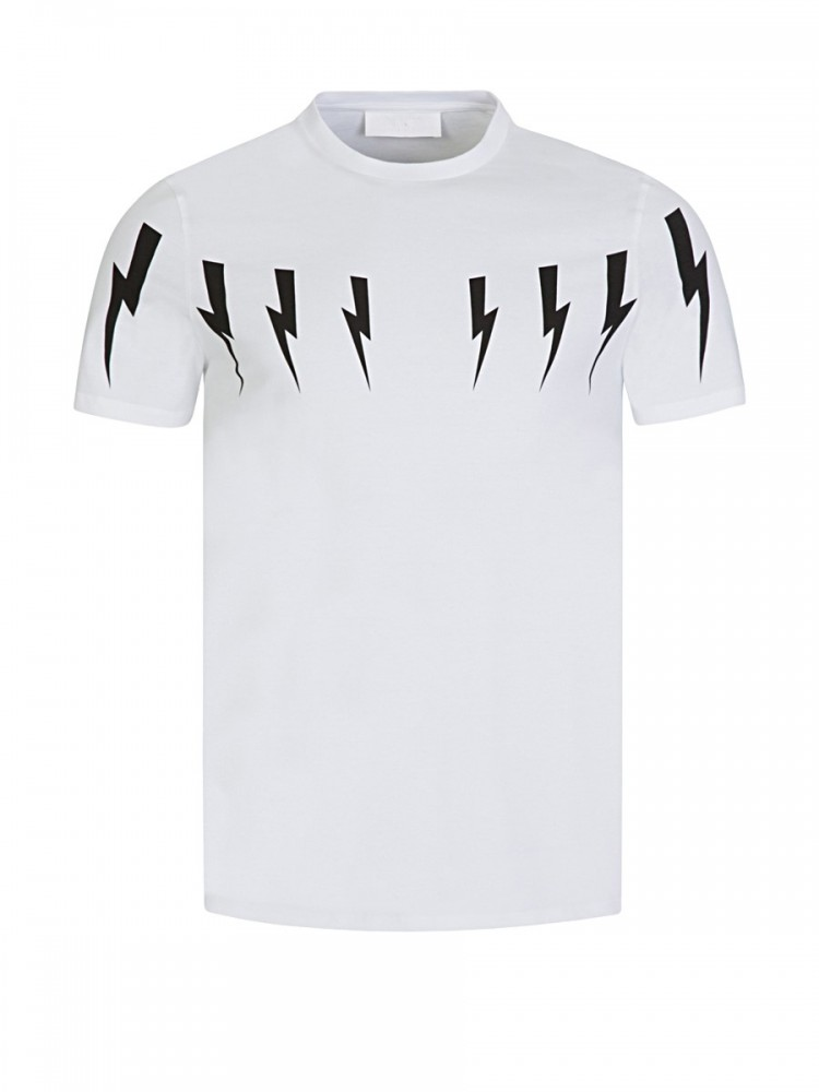 Neil Barrett White Lightning Bolts T-Shirt