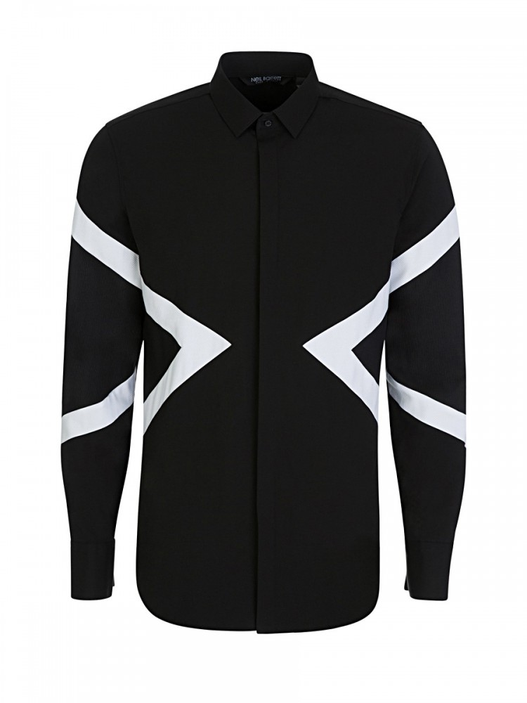 Neil Barrett Black White Stripe Tuxedo Shirt