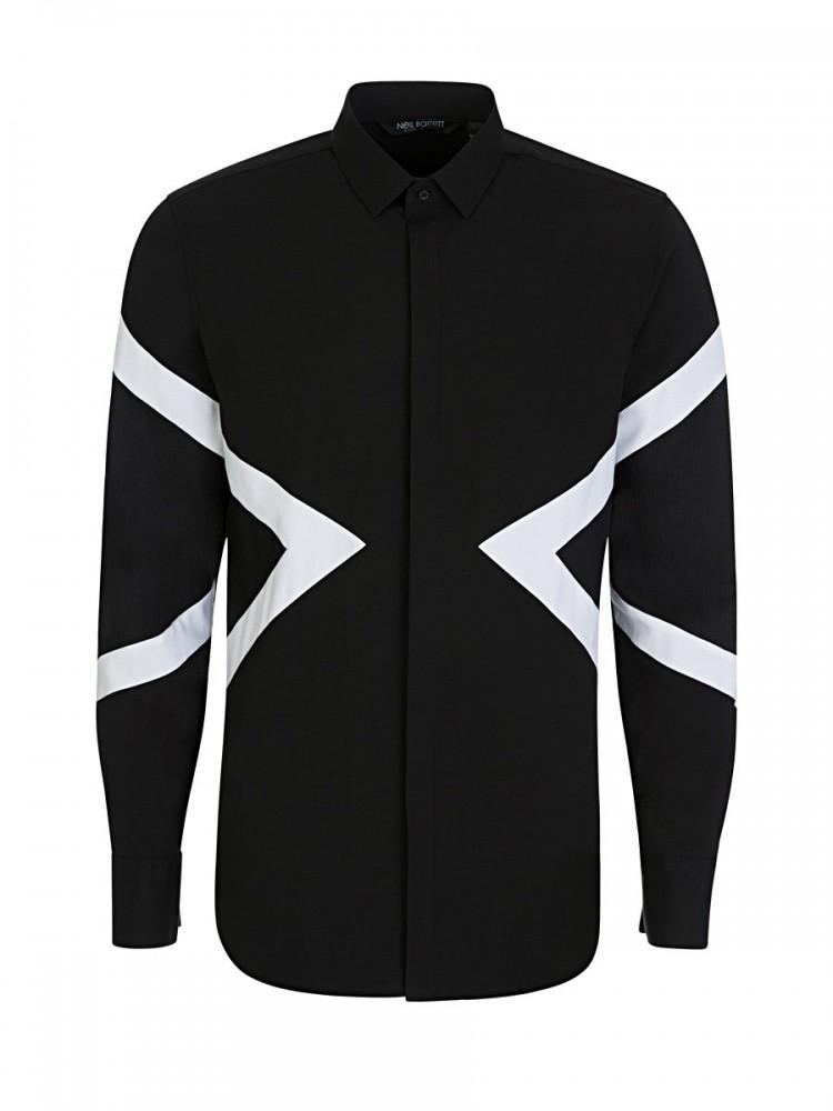 Neil Barrett Black White Stripe Tuxedo Shirt