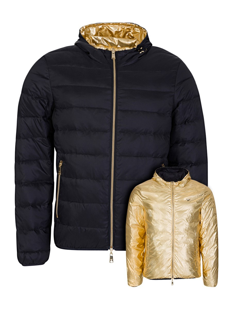 Emporio Armani Navy Reversible Laminated Jacket