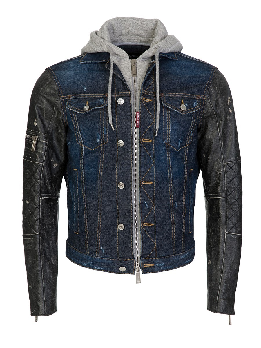 Dsquared2 Blue Vintage Denim Leather Jacket