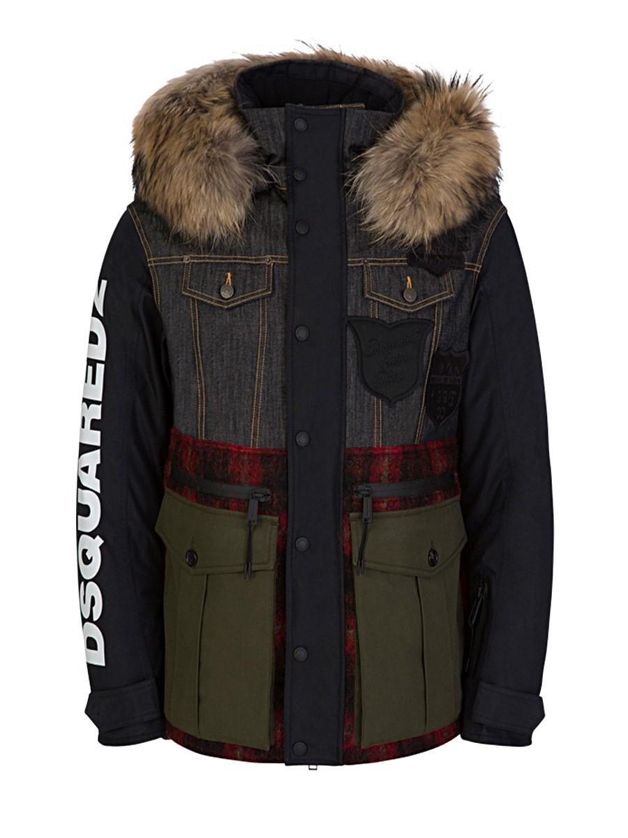 Dsquared2 Black Ski Collection Fur Parka