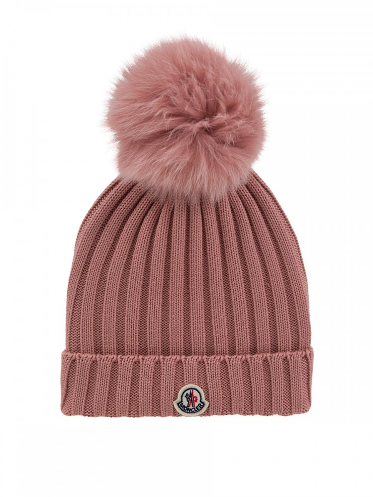 Moncler Pink Bobble Hat Beanie