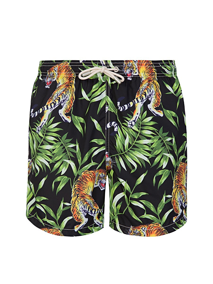 MC2 Saint Barth Black Tiger Leaves Swim Shorts