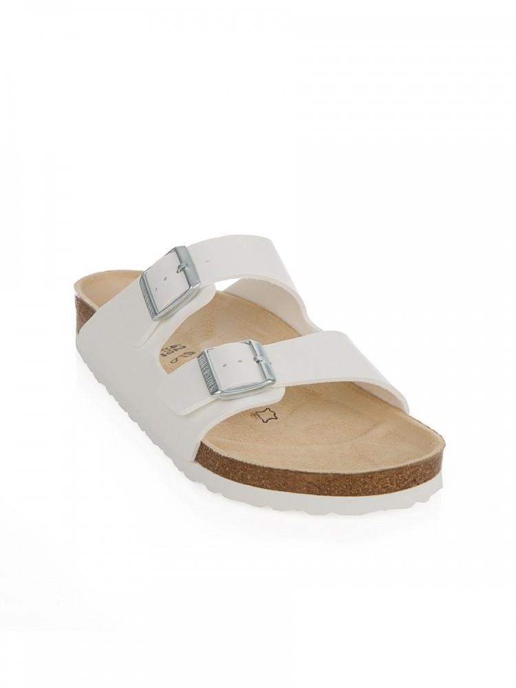 Birkenstock White Arizona Birko-Flor Sandals