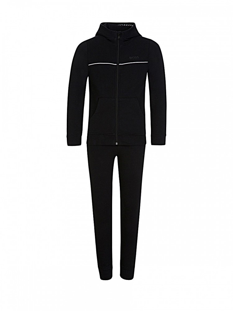 BOSS Kidswear Black Logo Hooded Zip Through Sweatshirt