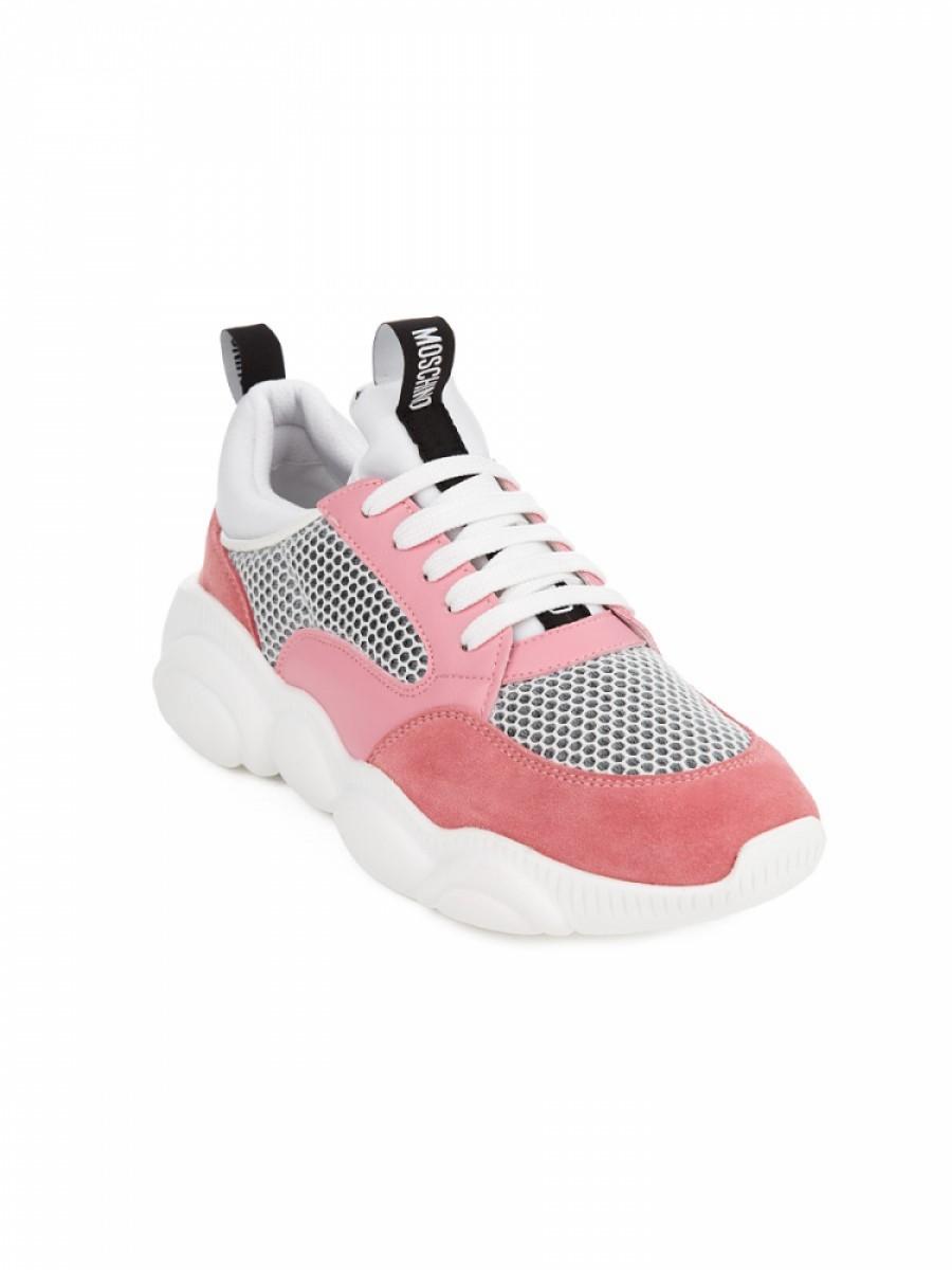 Moschino White/Pink Teddy Run Trainer