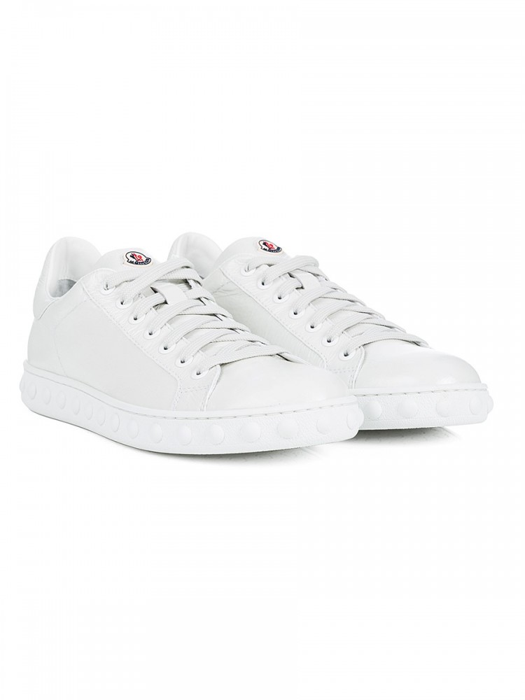 Moncler White Patent Leather Fifi Trainers