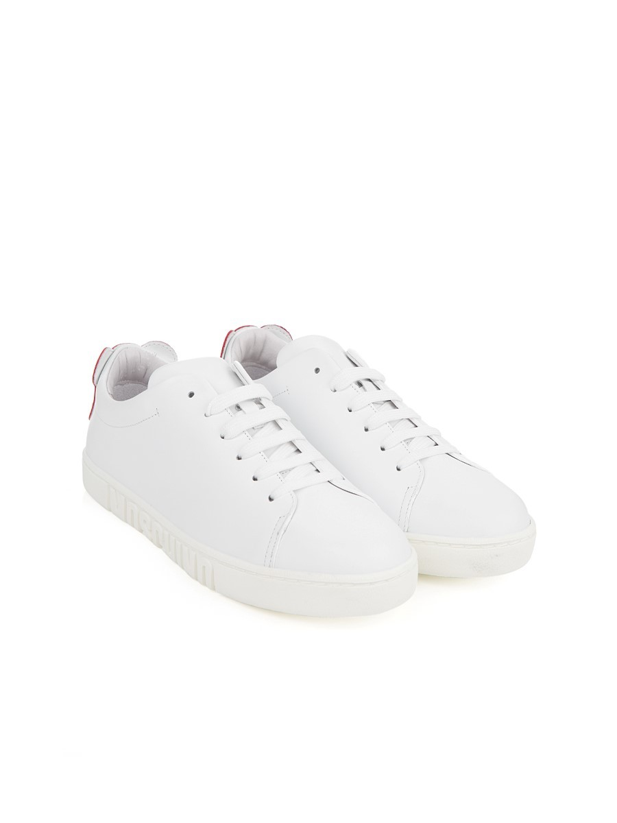 Moschino White and Red Logo Trainers