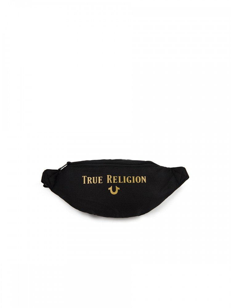 True Religion Black Nylon Fanny Pack