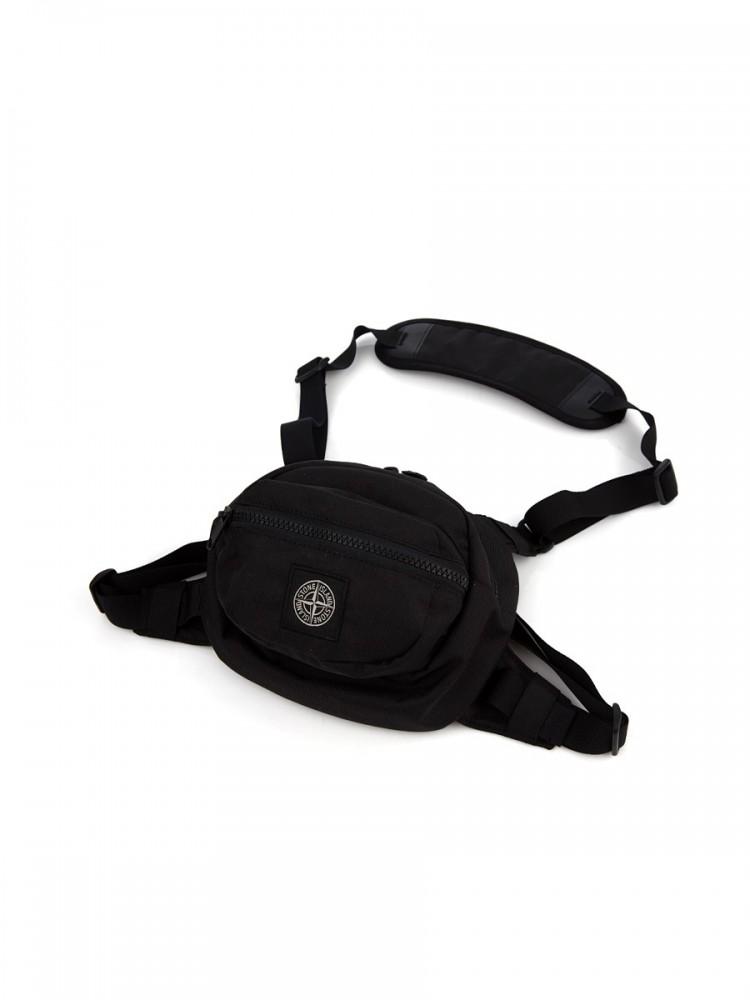 Stone Island Black Nylon Waist Bag