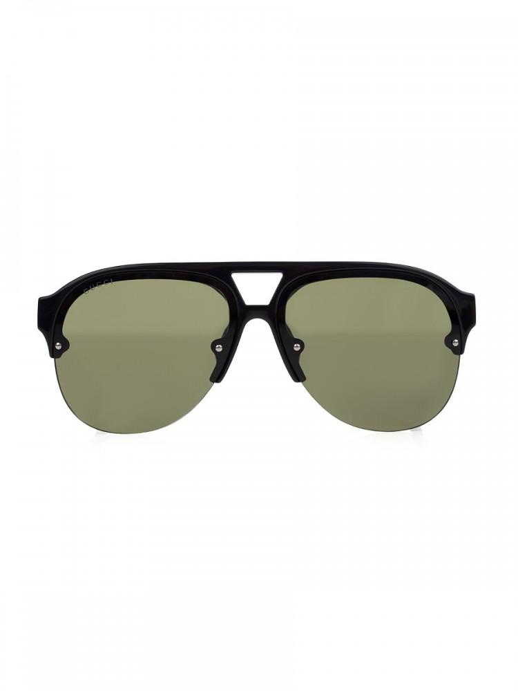 Gucci Black Aviator Rubber Sunglasses