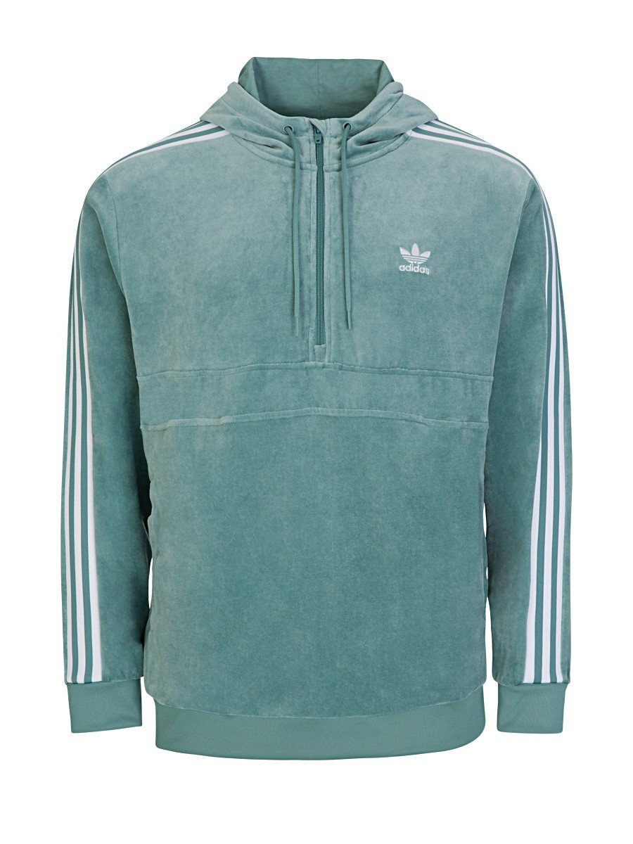 Adidas Mint Green Half Zip Hooded Sweatshirt