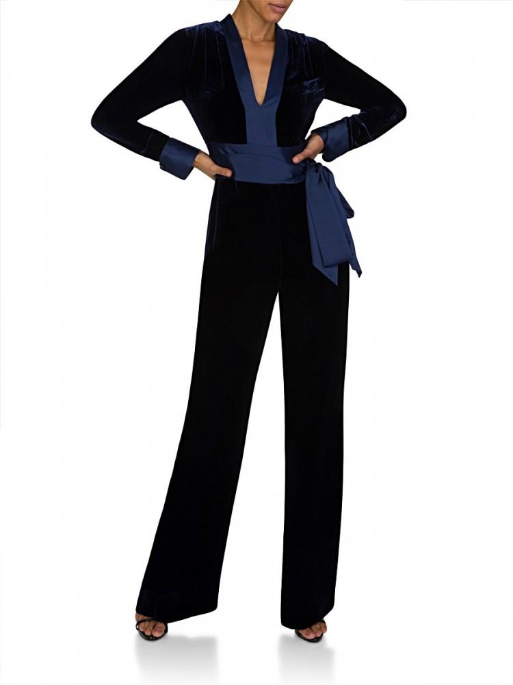 Diane Von Furstenberg Navy Velvet Claude Jumpsuit