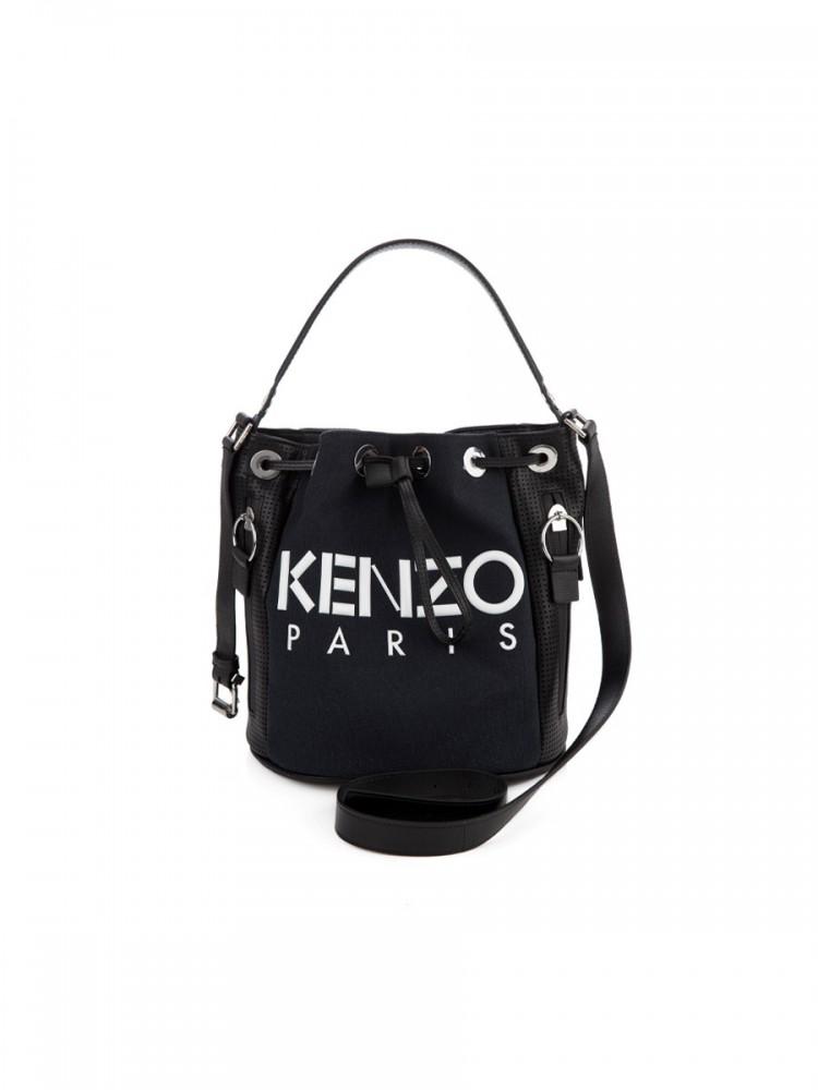 KENZO LOGO BUCKET BAG IN BLACK
