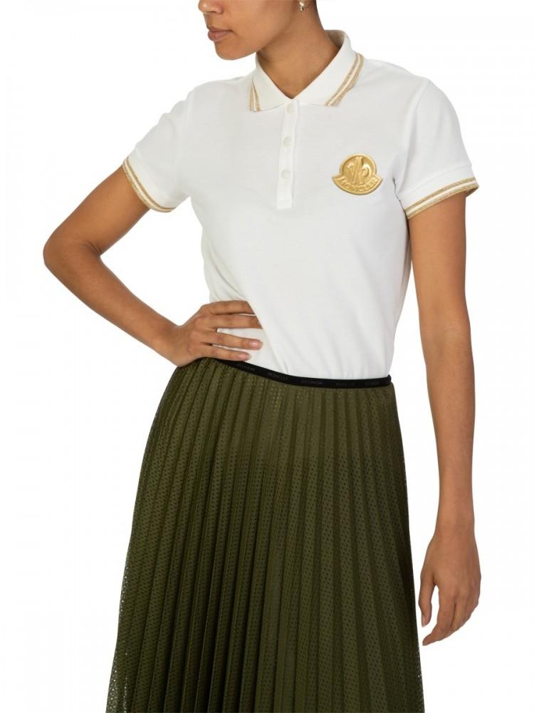 Moncler White Tipped Logo Polo Shirt