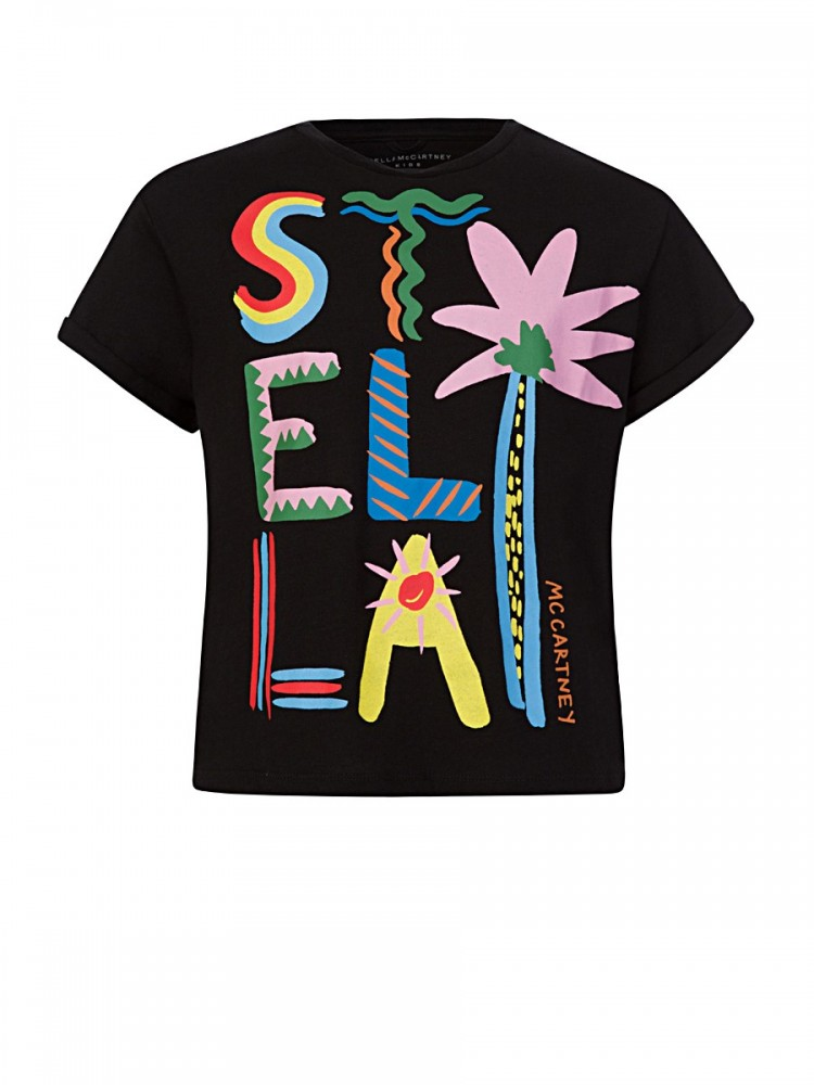 Stella McCartney Kids Black Palm T-Shirt