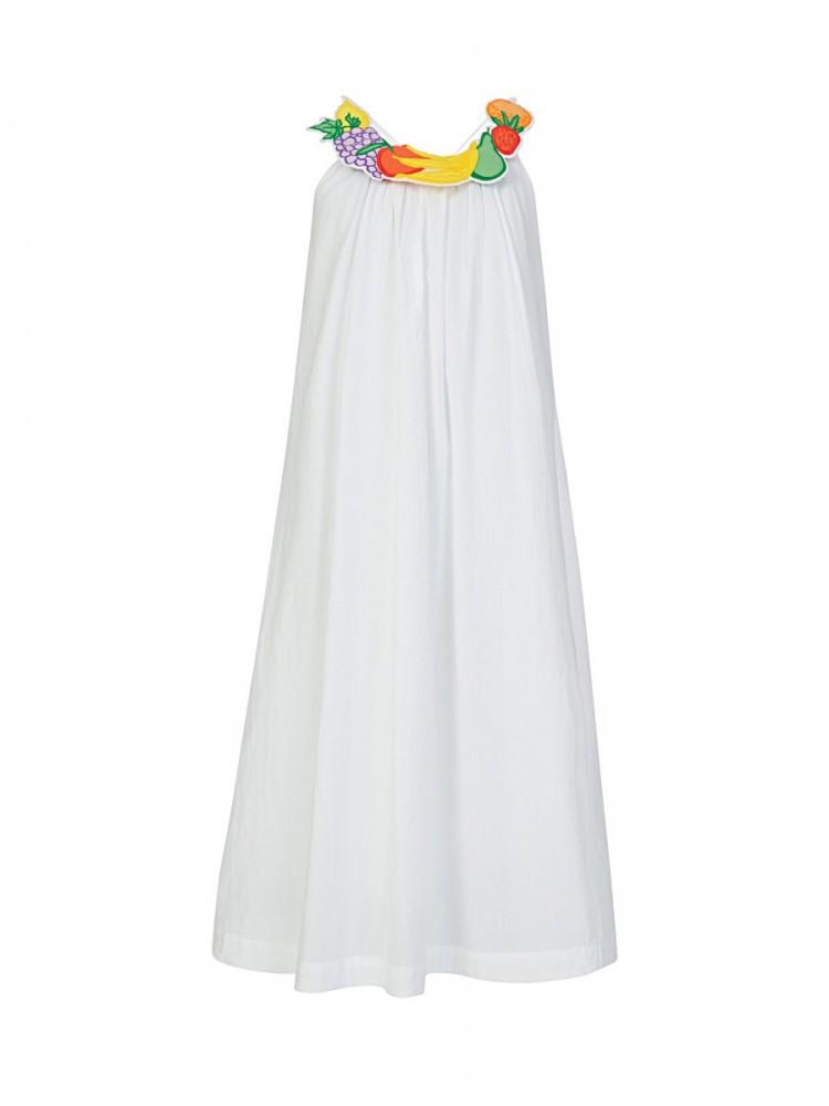 Stella McCartney White Fruit Necklace Maxi Dress