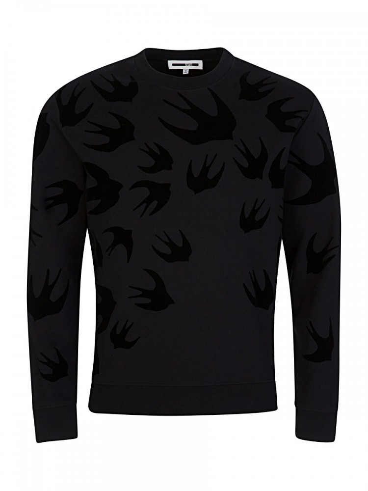 McQ by Alexander McQueen Black Velvet Swallow Sweatshirt