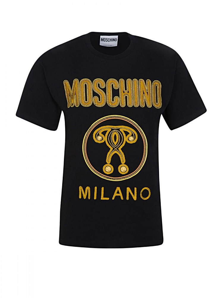 MOSCHINO DOUBLE QUESTION MARK LOGO T-SHIRT IN BLACK