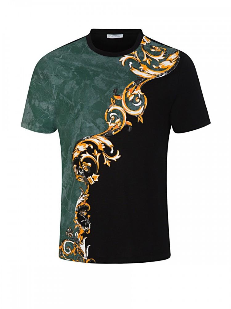 Versace Collection Black Split Baroque T-Shirt