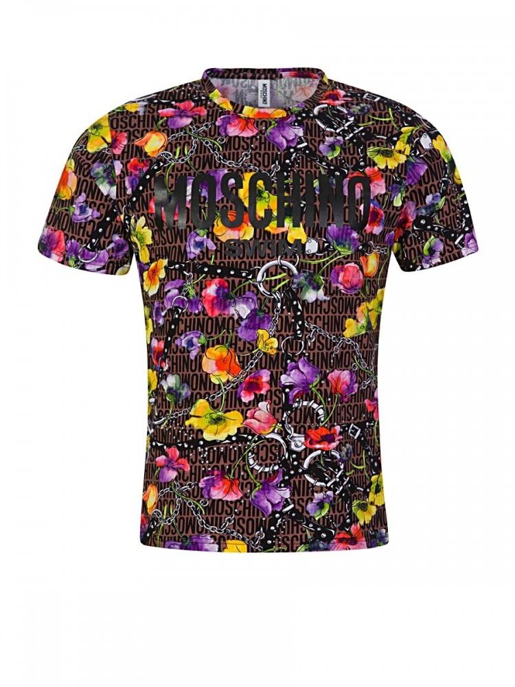 Moschino Brown Floral Logo T-Shirt