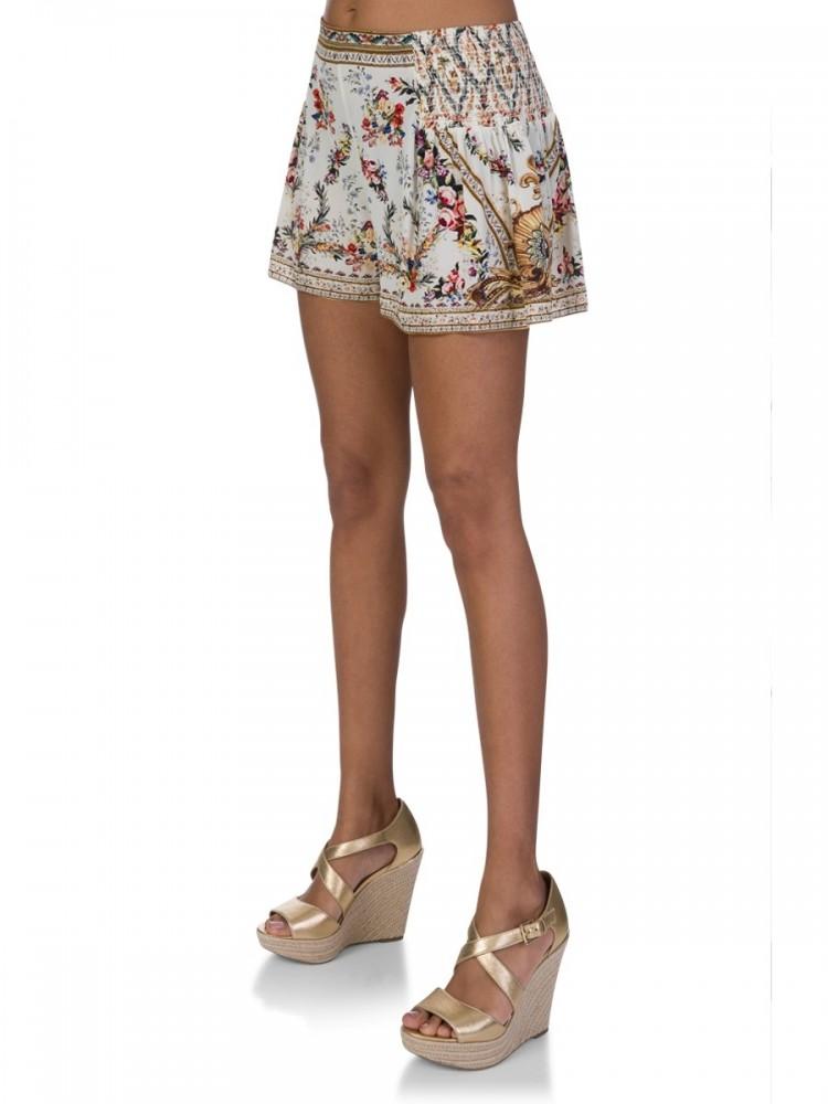 Camilla Cream Side Flounce Shorts