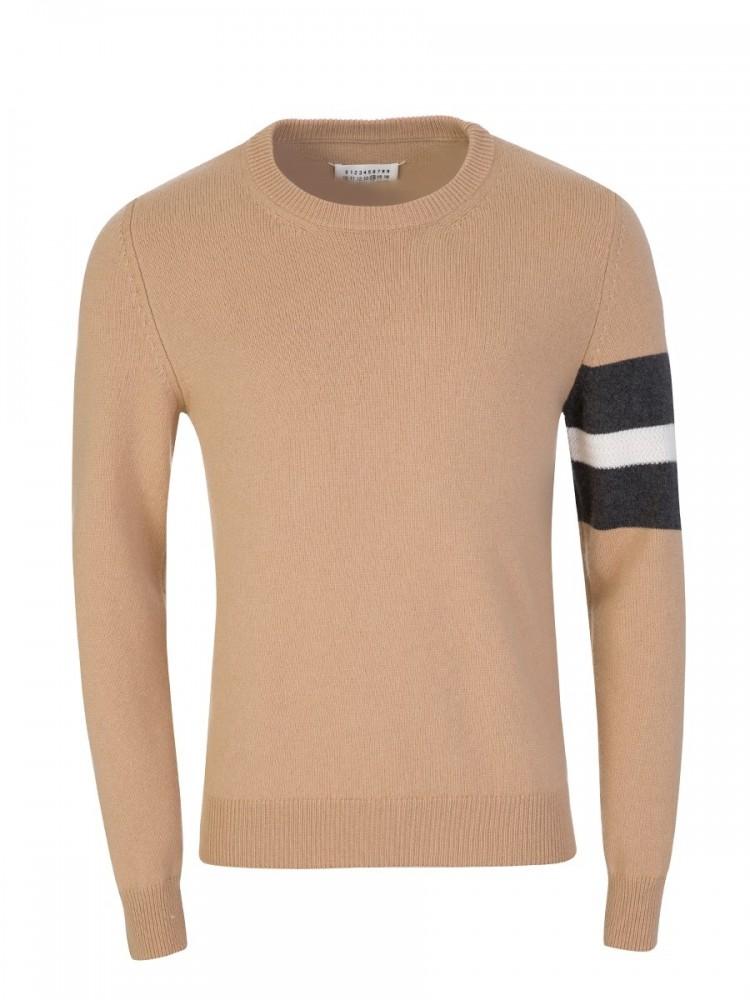 Maison Margiela Brown Stripe Sleeve Jumper