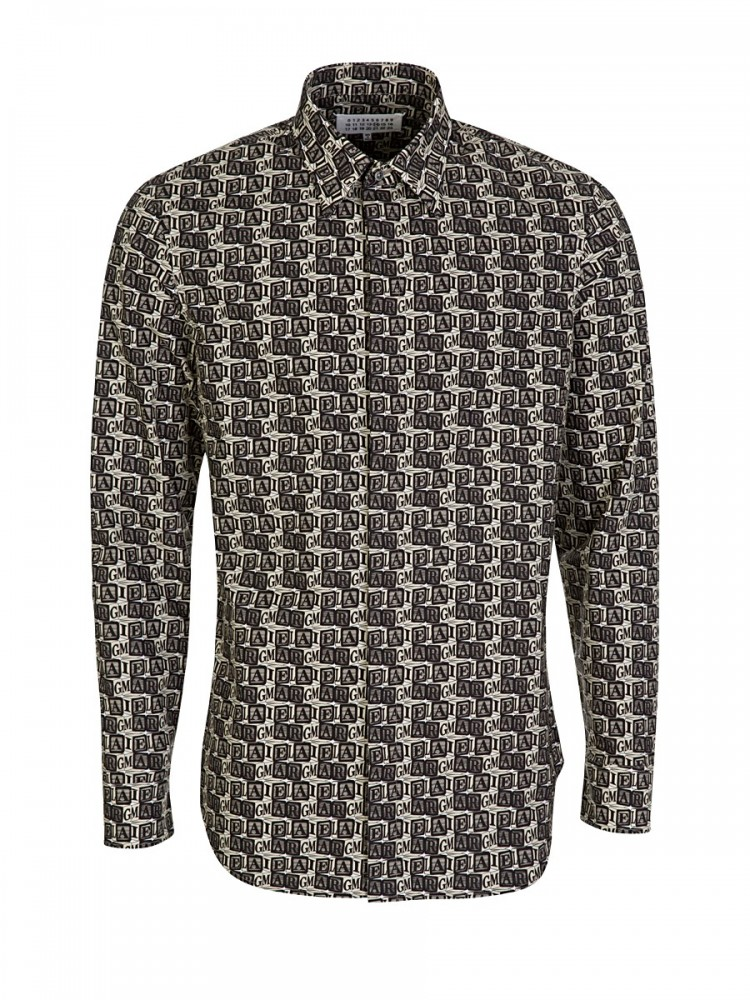 Maison Margiela Cream Block Print Shirt