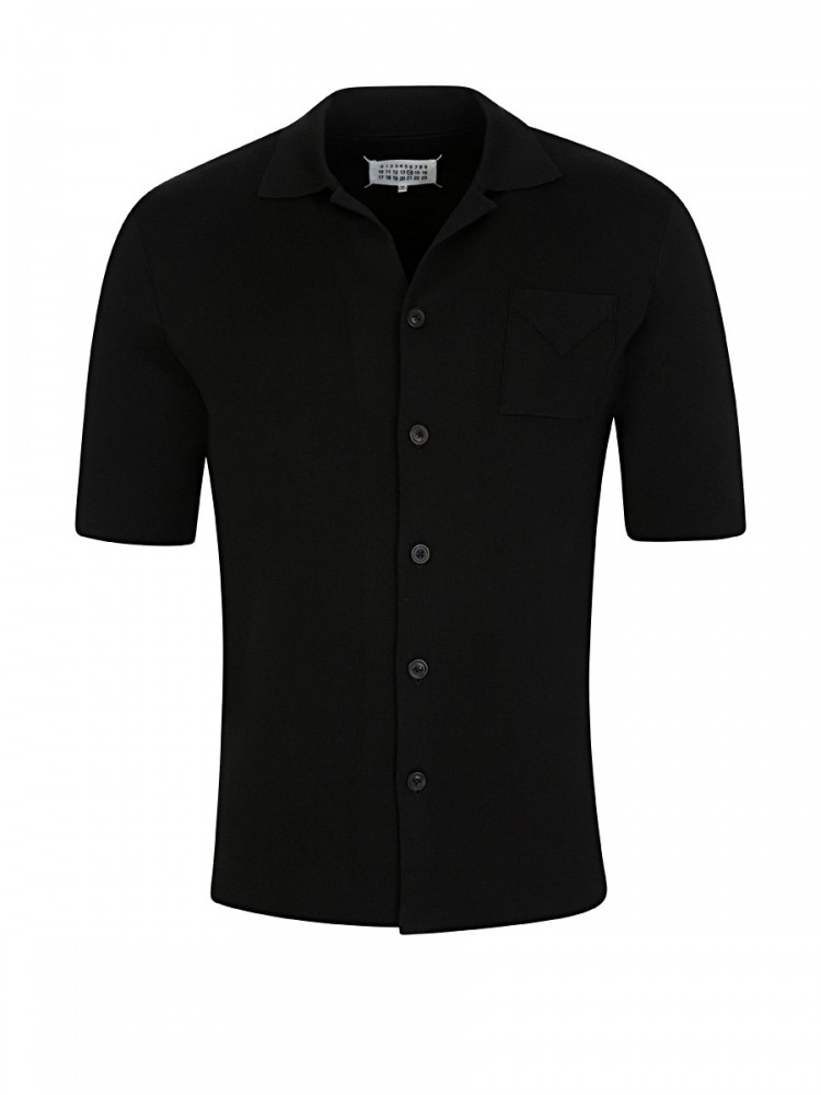 Maison Margiela Black Heavy Silk Short Sleeve Shirt