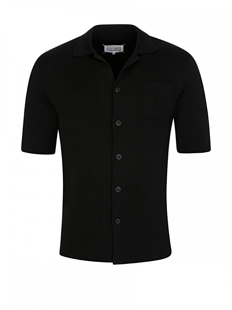 Maison Margiela Black Heavy Silk Short Sleeve Shirt