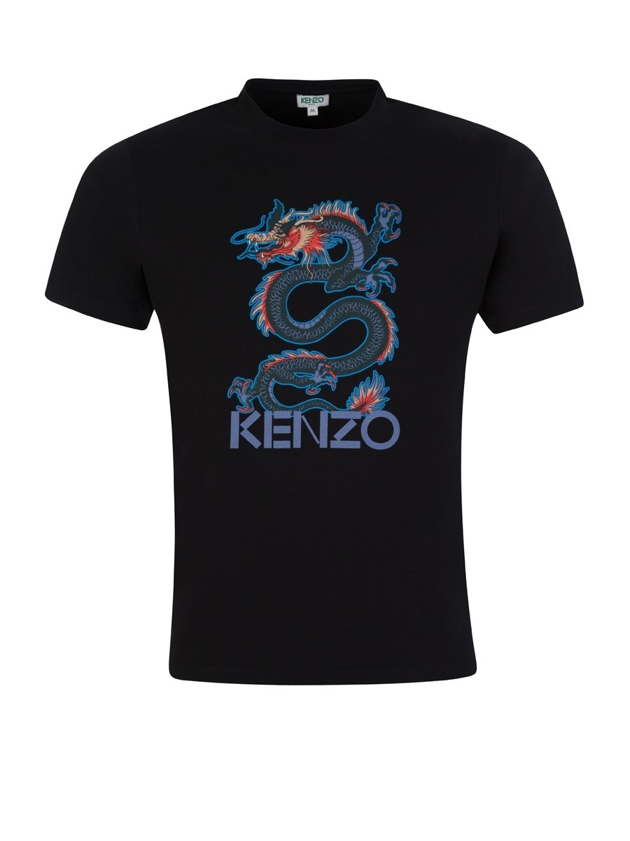 KENZO Black Printed Dragon T-Shirt