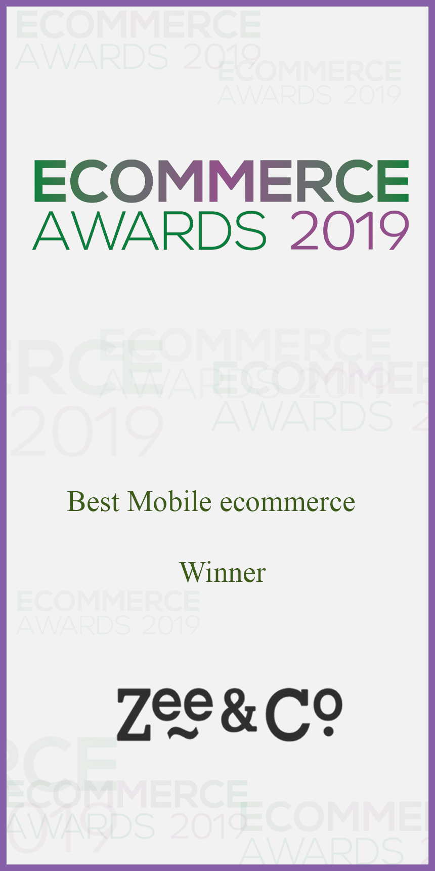Zee & Co Wins Best Mobile Website at eCommerce Awards 2019