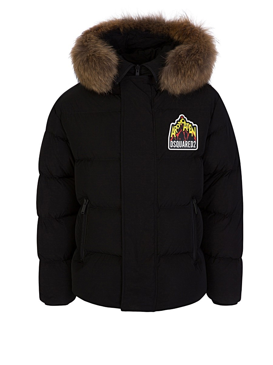Dsquared2 Black Arctic Parka Coat