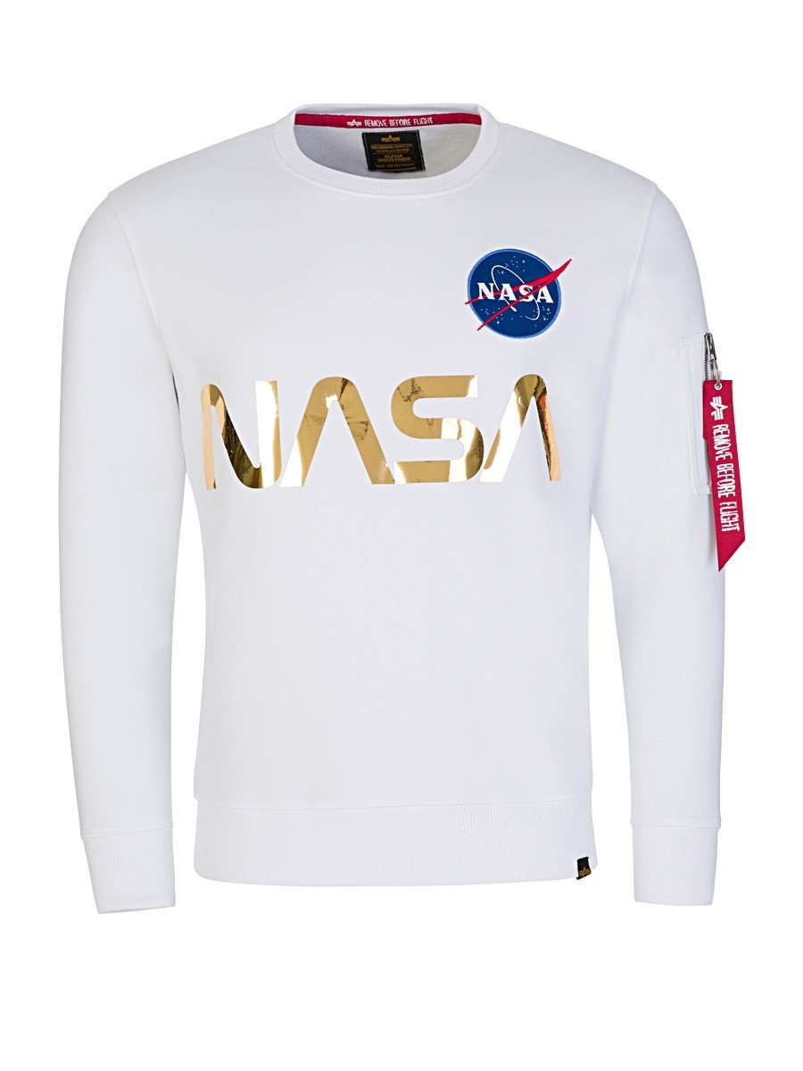 Alpha Industries White NASA Gold Reflective Sweater