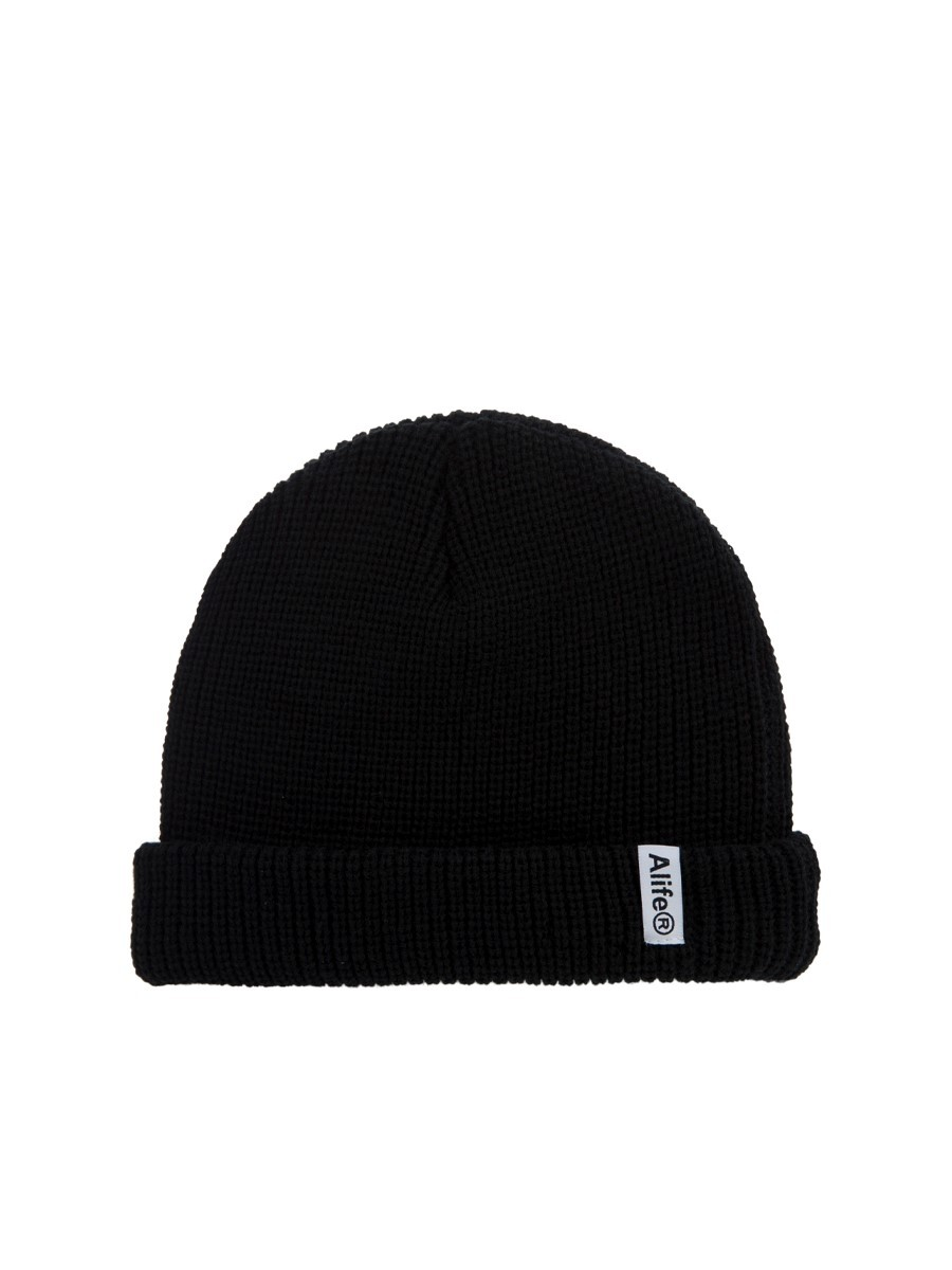 Alife Black Cotton Registered Beanie Hat