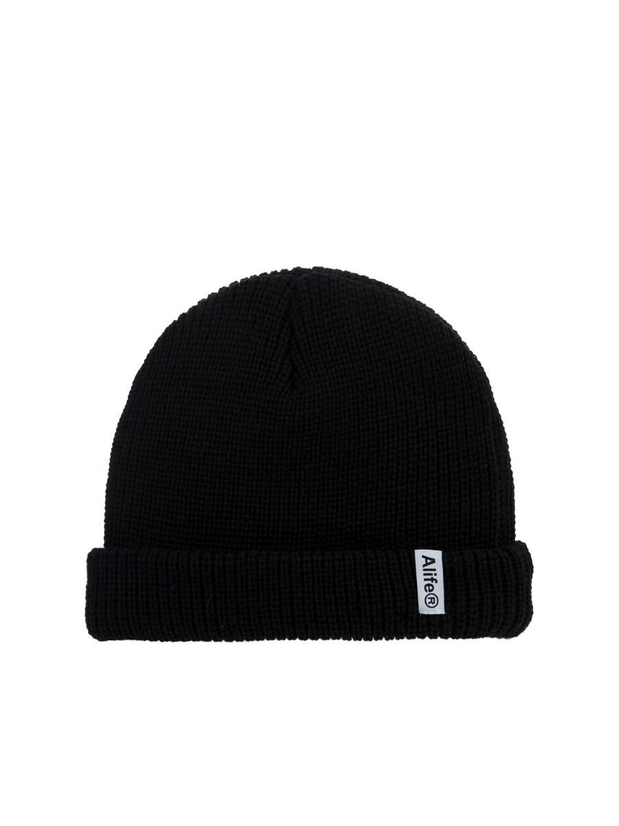 Alife Black Cotton Registered Beanie Hat