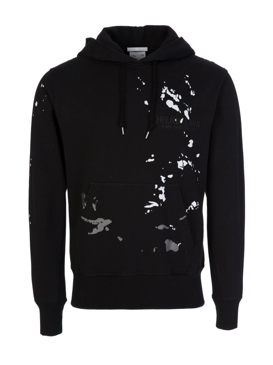 Helmut Lang Black Paint-Splatter Hoodie