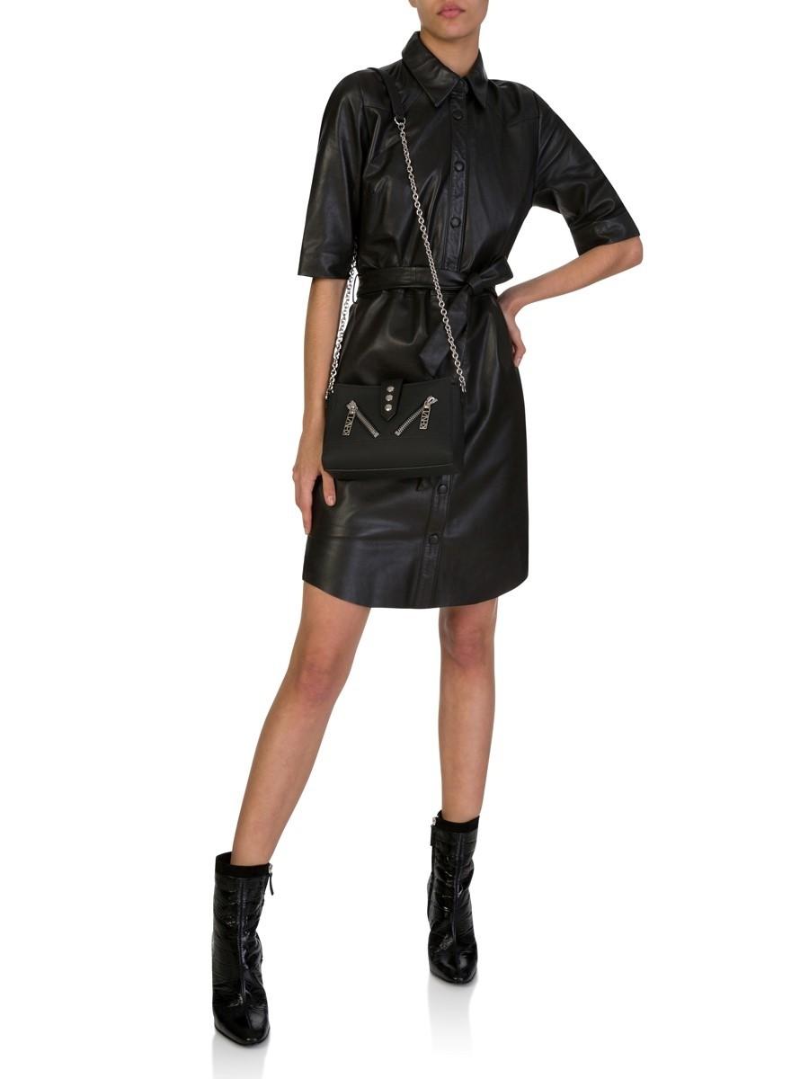 Dante6 Black Leather Baroon Shirt Dress