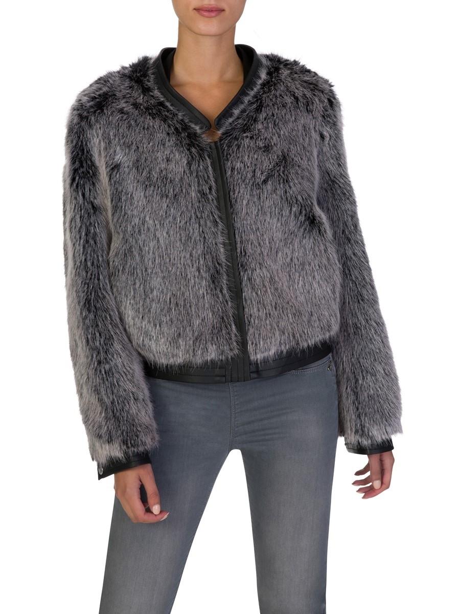 J Brand Silver Ashbey Faux Fur Jacket