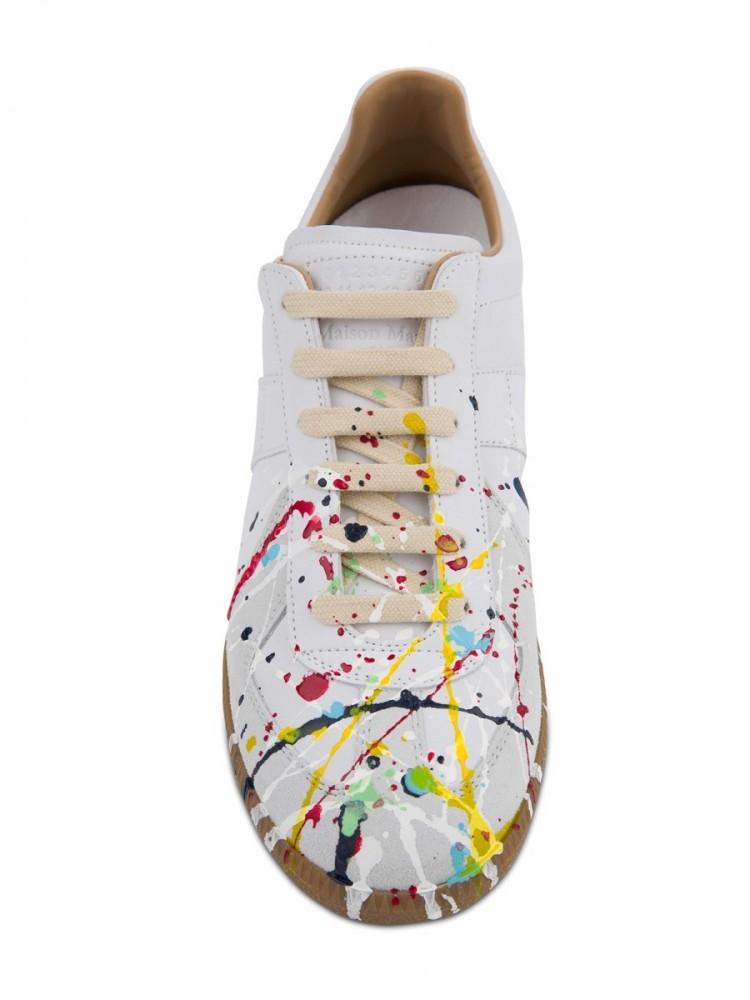 Maison Margiela White Replica 'Paint Drop' Trainers